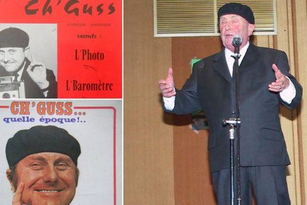 Ch'guss sur scène en 2007 et quelques-uns de ses disques en patois.