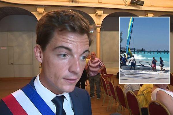 Stéphane Sieczkowski-Samier en juillet 2019. A droite, une photo postée sur page Facebook depuis les Bahamas.