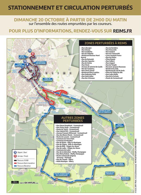 Voici la liste des rues bloquées à la circulation ce dimanche 20 octobre à l'occasion du Run in Reims