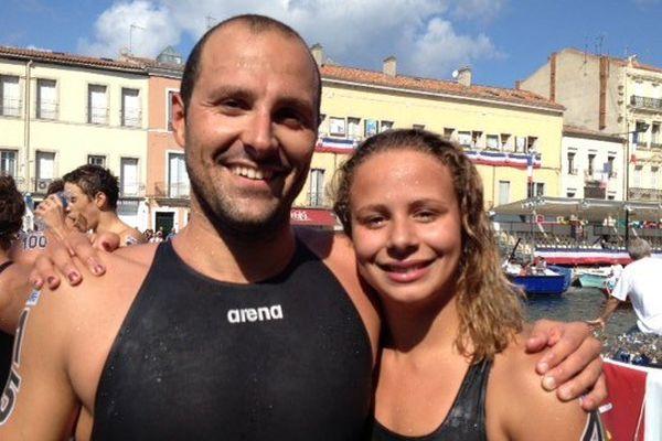 Le Sétois Bertrand Venturi et la Millavoise Adèle Brunet vainqueurs de la traversée de Sète à la nage - 24 août 2015