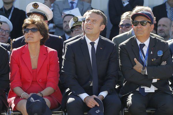 Sylvie Goulard avec Emmanuel Macron au salon du Bourget ce lundi.