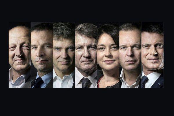 De gauche à droite... les sept candidats : Jean-Luc Benhamias, Benoît Hamon, Arnaud Montebourg,Vincent Peillon, Sylvia Pinel, François de Rugy, Manuel Valls