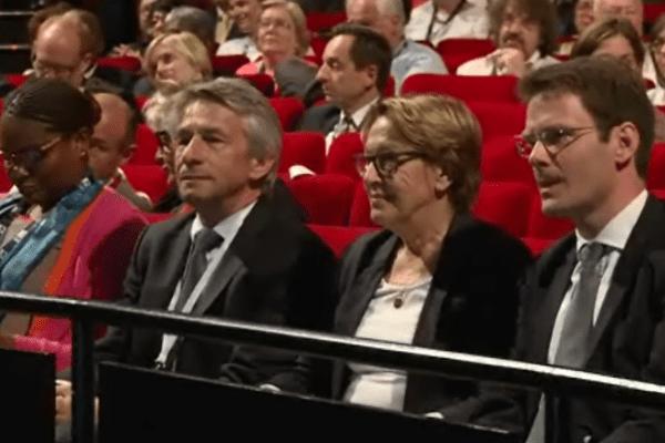 Marylise Lebranchu, Ministre de la fonction publique et de la décentralisation, Laurent Beauvais Président de la région Basse-Normandie et Nicolas Mayer-Rossignol Président de la région Haute-Normandie lors du Congrès des Régions à Rouen en juin 2015.