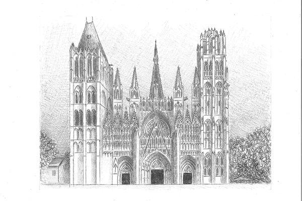 La cathédrale de Rouen, sous le crayon de Yann Messence.