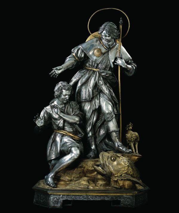 Tobie et l'ange Raphaël, l'oeuvre, réalisée en 1797, par l'un des plus grands sculpteurs de son temps, Giuseppe Sanmartino (argent, cuivre et bronze)