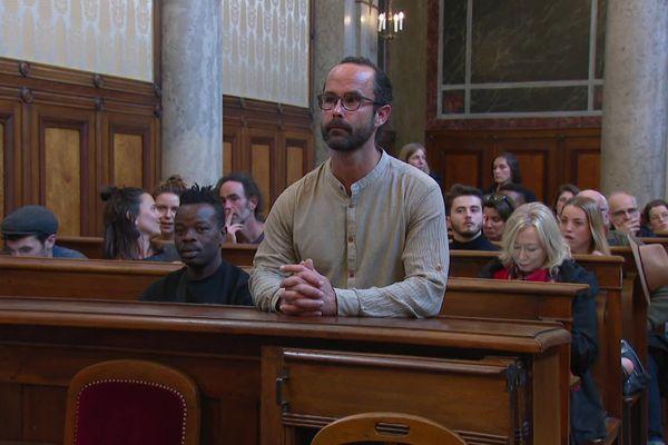 Le militant Cédric Herrou lors de son procès en appel à Lyon le 11 MARS 2020
