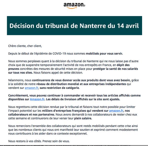 Dans un mail, Amazon informe ses clients français qu'ils seront toujours livrés