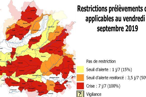 La dernière carte de la sécheresse en Dordogne et les interdictions mises en place par la préfecture à compter de ce vendredi 6 août...