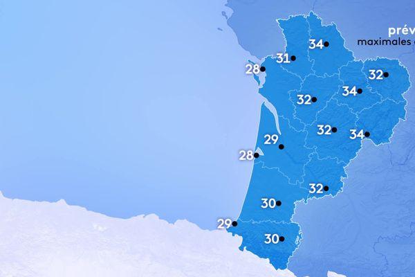 Les températures restent élevées, comprises entre 28 et 34 degrés.