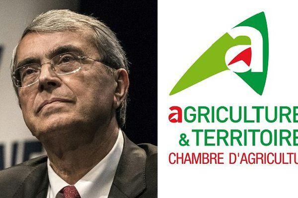 A gauche, Jean-Jack Queyranne et à droite, logo de la chambre d'agriculture