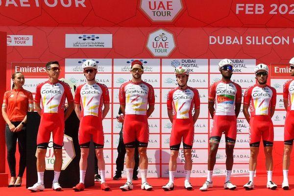 L'équipe Cofidis au départ du Tour des Emirats Arabes unis le 23 février.