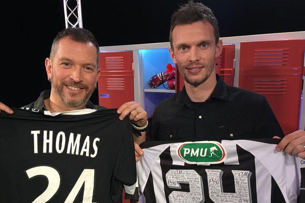 Romain Thomas, défenseur du Angers SCO, au côté de Anthony Brulez sur le plateau de #USBFOOT