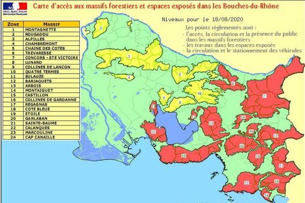 Ce mardi 18 août, 16 massifs du département sont encore en alerte rouge incendie.
