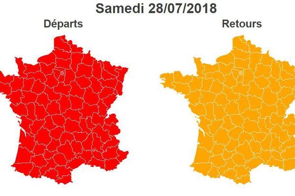 Bison Futé a prévu rouge dans le sens des départs, orange dans le sens des retours.