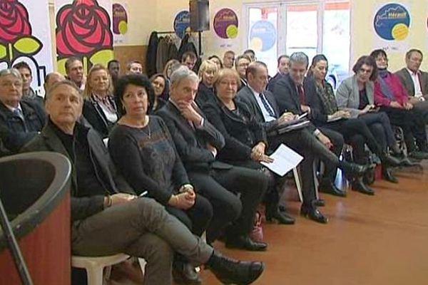 Frontignan (Hérault) - les candidats PS aux élections départementales dans l'Hérault - 16 février 2015.