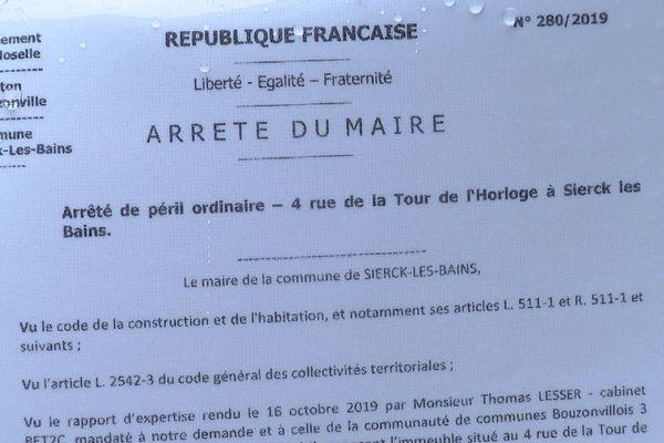 Un «arrêté de péril» a été signé au mois de décembre 2019.