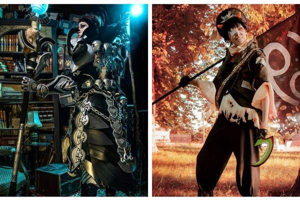 A gauche, 'IGC fait des cosplays' en armure du jeu vidéo Guild Wars 2 ; à droite, AmyBleu en Karkat Vantas (issu de Homestuck).