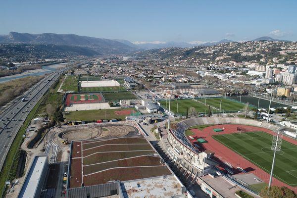 Vue aérienne de la plaine du Var, à Nice.
