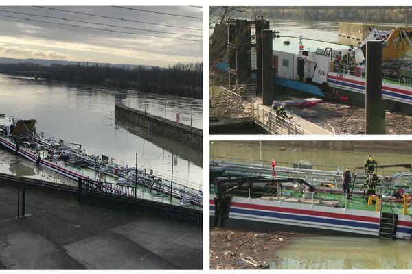 La péniche a été endommagée à Sablons, près de la limite avec les départements de la Drôme et de l'Ardèche.