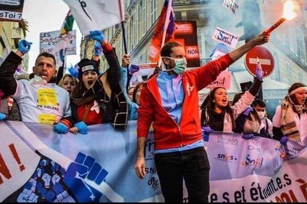 Des étudiants infirmiers lors d'une manifestation à Paris en 2016.