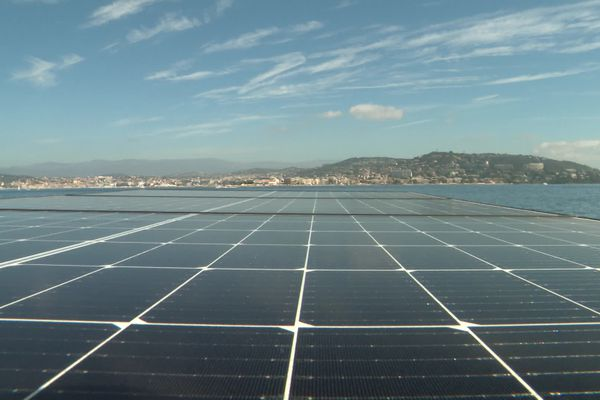 Les panneaux solaires sont présents sur le toit du bateau.