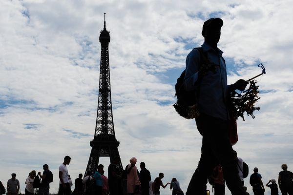 La tour Eiffel, vue du Trocadéro, à Paris.
