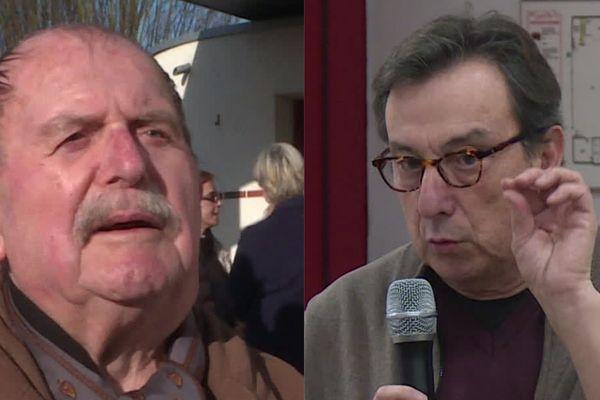 Deux figures communistes locales, Michel Guérin (à gauche) et marc Brynhole (à droite), se présentent à la mairie de Darvoy, dans le Loiret.