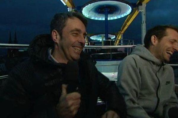Jean-Luc Roussilhe (journaliste) et Renaud Lavillenie dans le journal des sports de France 3 Auvergne.
