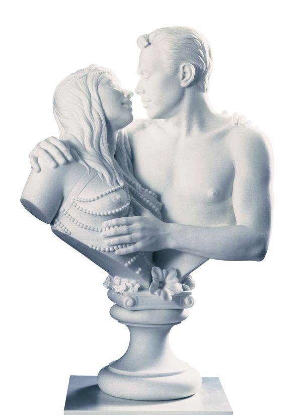 Jeff Koons, Bourgeois Bust - Jeff and Ilona, 1991, un autoportrait en marbre de l'artiste avec sa muse la Cicciolina