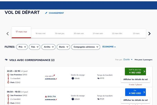 Les offres d'Air France pour des vols San Francisco - Paris, le 17 mars, pendant l'épidémie de Coronavirus.