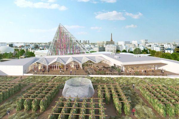Une grande ferme urbaine sur le toit du  nouveau pavillon 6 Parc des expositions à Paris Porte de Versailles