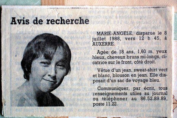 L'avis de recherche paru dans la presse pour retrouver Marie-Angèle Domece.