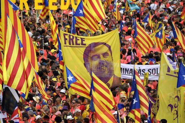 Une manifestation réclamant la libération d'Oriol Junqueras à Barcelone en septembre 2018.
