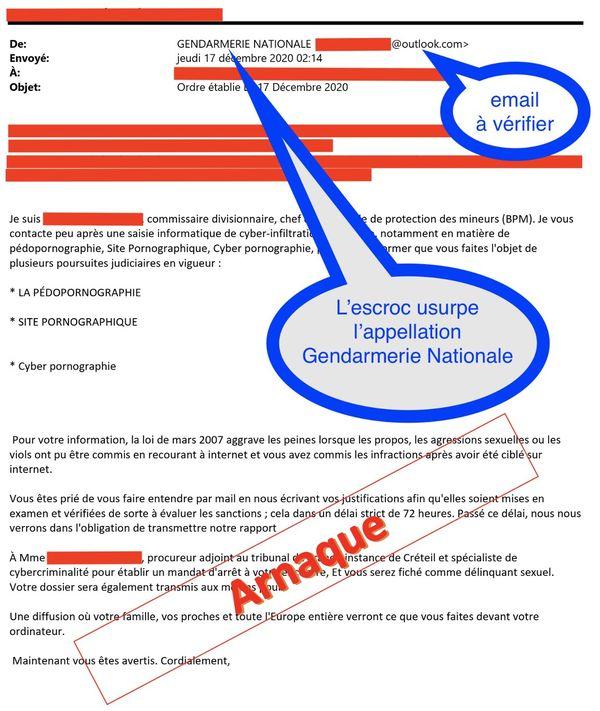 Les cybercriminels usurpent l'identité de la police avec une adresse mail non-officielle.