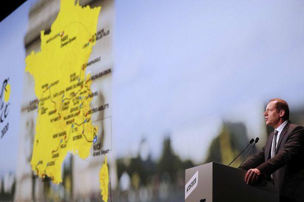 Christian Prud'homme, le patron du Tour de France lors de la présentation de l'édition 2020 mardi 15 octobre 2019