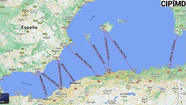 Carte des routes maritimes des passeurs et de l'exode.