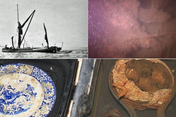 """Des objets remontés de l'épave de la """"Lady Rosbery"""", une barge de la Tamise ayant participé à l'Opération Dynamo en 1940."""