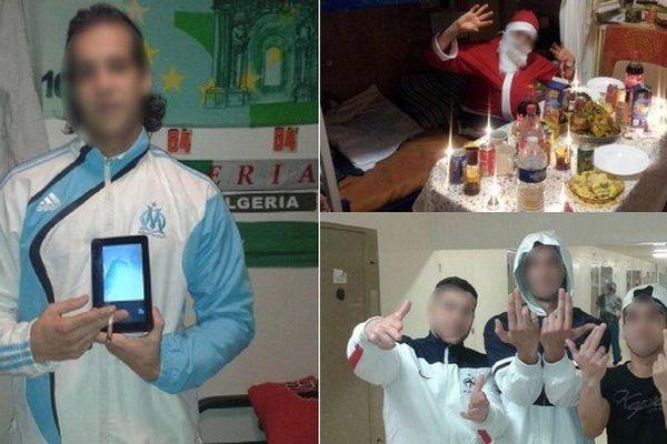Photos prises en prison et publiées par des détenus sur des pages Facebook.
