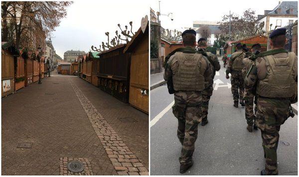 Une patrouille de soldats de l'opération Sentinelle au marché de Noël, fermé ce 12 décembre
