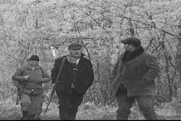 Journée de chasse en forêt de Chaux, dans le Jura, en 1971.