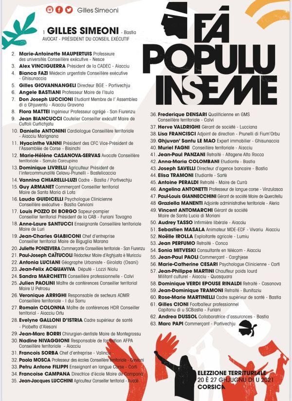 L'intégralité de la liste Fà populu inseme