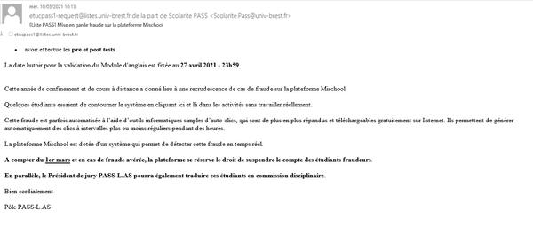 Dans un message électronique daté du 10/03/2021, l'UBO alertait sur les fraudes constatées sur la plateforme Mischool