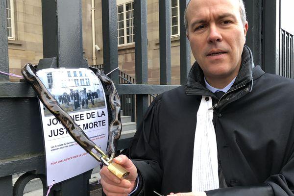 Le bâtonnier du Barreau de Thionville, ce lundi 12 février 2018 devant le Tribunal.