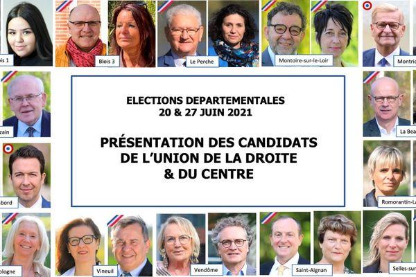 Les 14 binômes de candidats de la droite et du centre de l'UPLC, l'Union pour le Loir-et-Cher, pour les élections départementales de juin 2021