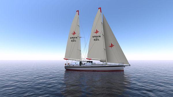 Le voilier de Grain de Sail, un monocoque en aluminium de 72 pieds (22m) avec une capacité de chargement de 35 tonnes en cale