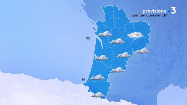 Le temps restera nuageux demain après-midi avec de la pluie sur le Poitou et de la neige sur le Limousin.