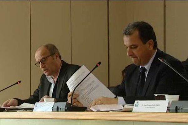 François Tatti (à droite) président de la CAB, le 23 décembre 2015