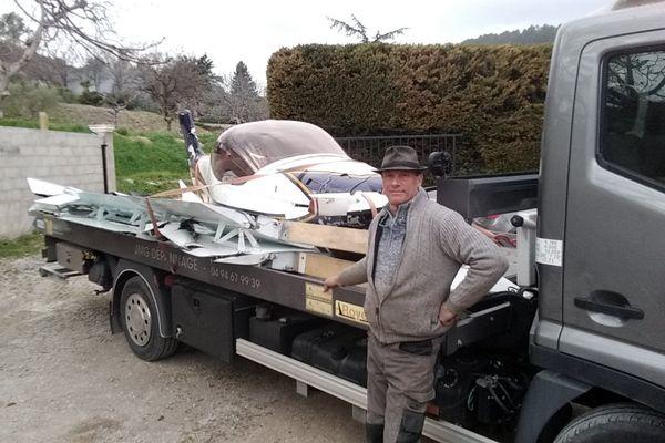 Jean-Marc Gandolfo garagiste à Figanières dans le Var a dépanné un petit avion crashé dans les vignes