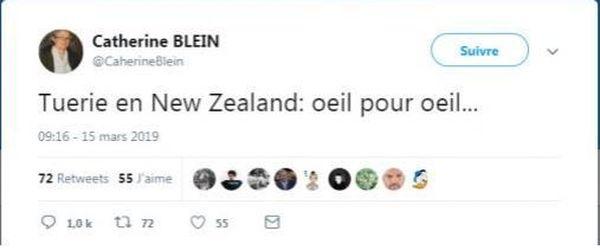 Capture du tweet polémique de la conseillère régionale bretonne Catherine Blein suite à l'attentat en Nouvelle-Zélande