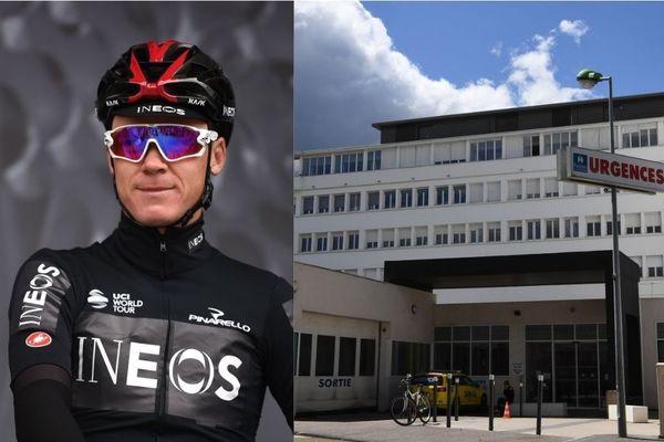 """Christopher Froome """"va rester encore un peu en soins intensifs (au CHU de Saint-Etienne) avec une surveillance rapprochée"""" selon son médecin."""